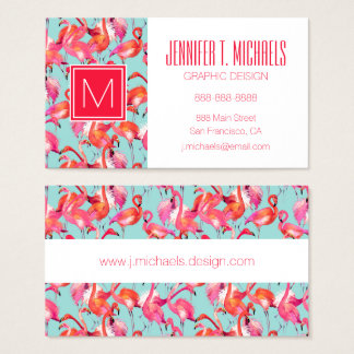Watercolor Flamingos Gathered | Monogram Business Card