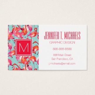 Watercolor Flamingos Gathered | Monogram Business Card