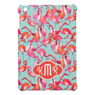 Watercolor Flamingos Gathered | Monogram Cover For The iPad Mini