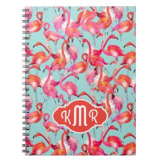 Watercolor Flamingos Gathered | Monogram Notebook