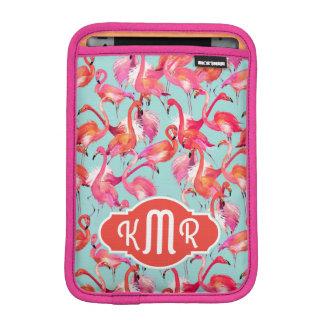 Watercolor Flamingos Gathered | Monogram Sleeve For iPad Mini