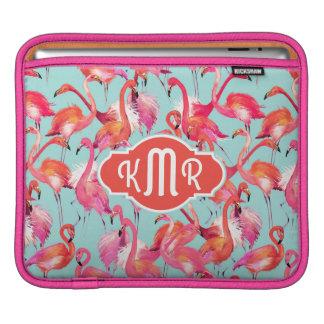 Watercolor Flamingos Gathered | Monogram Sleeves For iPads