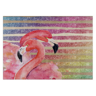 Watercolor Flamingos Glitter Gold Stripes Boards