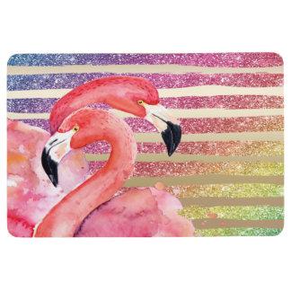 Watercolor Flamingos Glitter Gold Stripes Floor Mat