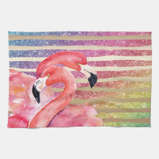 Watercolor Flamingos Glitter Gold Stripes Kitchen Towel