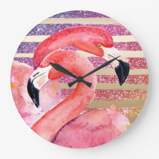 Watercolor Flamingos Glitter Gold Stripes Large Clock