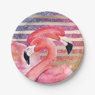 Watercolor Flamingos Glitter Gold Stripes Paper Plate