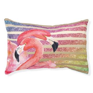 Watercolor Flamingos Glitter Gold Stripes Pet Bed