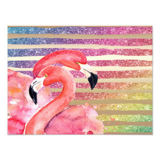 Watercolor Flamingos Glitter Gold Stripes Photo Print