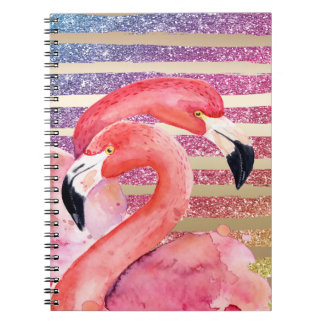 Watercolor Flamingos Glitter Gold Stripes Spiral Notebook
