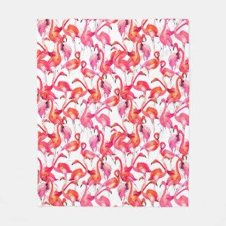 Watercolor Flamingos In Watercolors Fleece Blanket