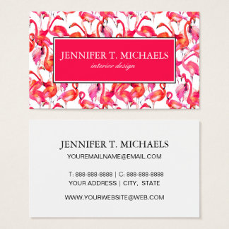 Watercolor Flamingos In Watercolors | Monogram Business Card