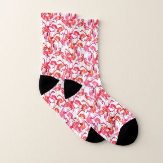 Watercolor Flamingos In Watercolors Socks