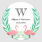 Watercolor Flamingos Palm Leaves Wedding Monogram Classic Round Sticker