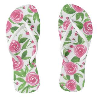 Watercolor Flip Flops - Sweet Roses