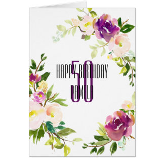 Watercolor Floral 50th Birthday Card