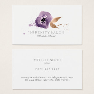 Watercolor Floral Amethyst Purple ID294 Business Card