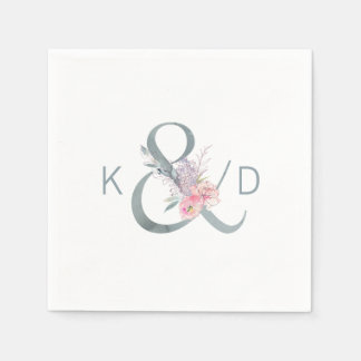 Watercolor Floral Ampersand and Monogram Wedding Paper Napkins