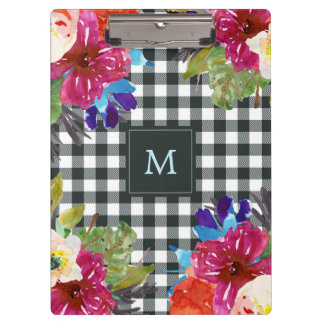 Watercolor Floral and Black Gingham | Monogram Clipboard