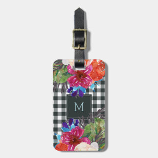 Watercolor Floral and Black Gingham with Monogram Luggage Tag
