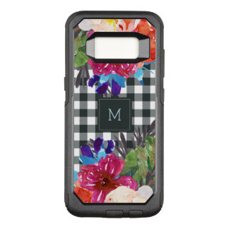 Watercolor Floral and Black Gingham with Monogram OtterBox Commuter Samsung Galaxy S8 Case