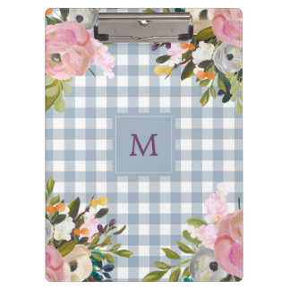 Watercolor Floral and Blue Gingham | Monogram Clipboard