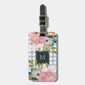 Watercolor Floral and Blue Gingham with Monogram Luggage Tag