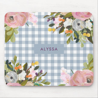 Watercolor Floral and Blue Gingham with Name Mouse Pad