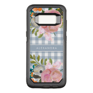 Watercolor Floral and Blue Gingham with Name OtterBox Commuter Samsung Galaxy S8 Case