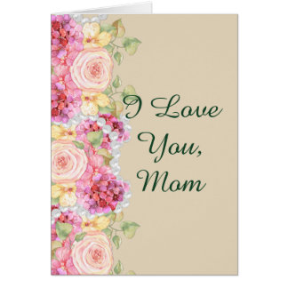 Watercolor Floral and Pearls Mother's Day Card