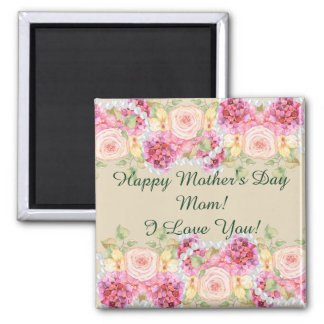 Watercolor Floral and Pearls Mother's Day Square Magnet