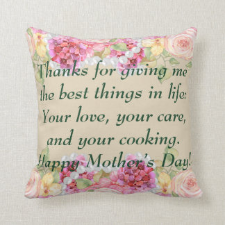 Watercolor Floral and Pearls Mother's Day Throw Pillow