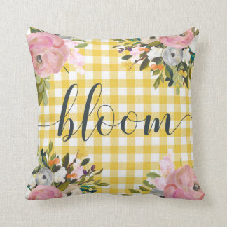 Watercolor Floral and Yellow Gingham | Bloom Throw Pillow