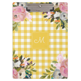 Watercolor Floral and Yellow Gingham | Monogram Clipboard