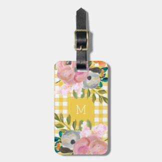 Watercolor Floral and Yellow Gingham with Monogram Luggage Tag