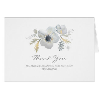 watercolor floral - anemones wedding thank you card