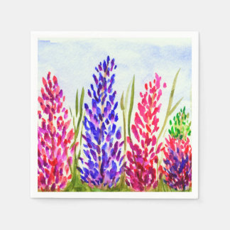 Watercolor Floral Art Lupine Wildflowers Purple Disposable Napkin
