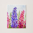 Watercolor Floral Art Lupine Wildflowers Purple Jigsaw Puzzle