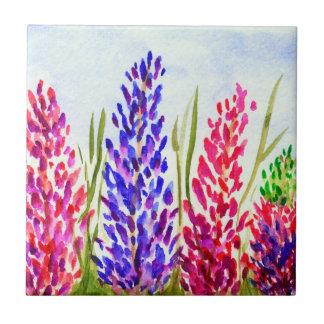 Watercolor Floral Art Lupine Wildflowers Purple Tile