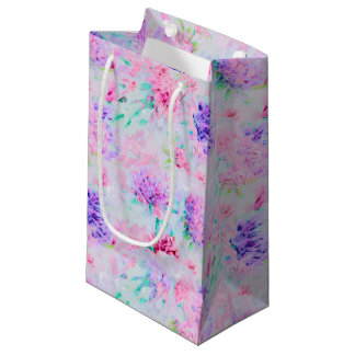 Watercolor floral aster painting pattern small gift bag