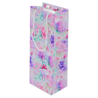Watercolor floral aster painting pattern wine gift bag