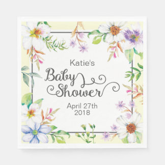 Watercolor Floral Baby Shower Disposable Napkin