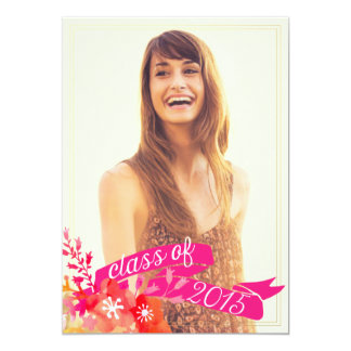 Watercolor Floral Banner Class of 2015 Graduation Card