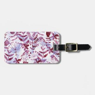 watercolor floral & birds II Bag Tag