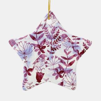 watercolor floral & birds II Ceramic Star Ornament