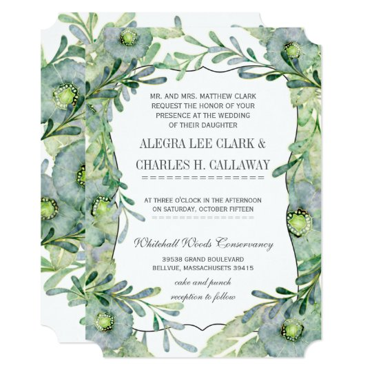 Watercolor Floral Blue and Green Wedding Card
