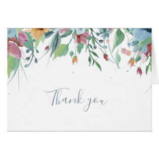 Watercolor Floral Blue Bridal Thank You Cards