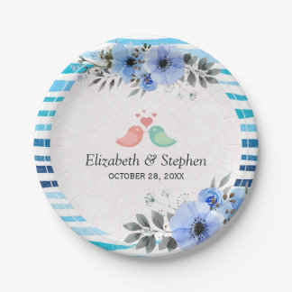 Watercolor Floral Blue Brush Stripe Wedding Shower Paper Plate