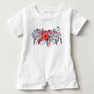 Watercolor Floral Blue Denim and Red Rose Baby Romper