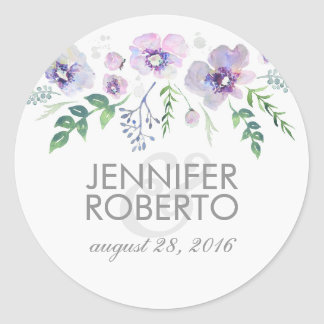 Watercolor Floral Blue Purple Wedding Round Sticker